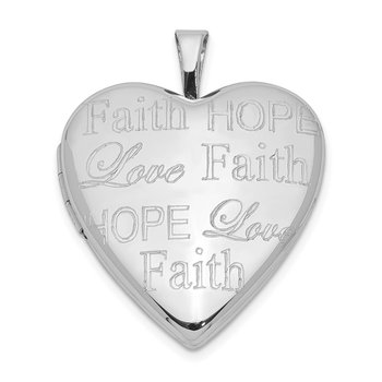 Sterling Silver Love, Hope, Faith 20mm Heart Locket