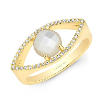 Yellow Gold Piety Mother Of Pearl Evil Eye Ring
