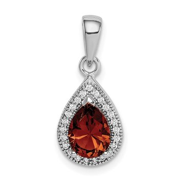 Sterling Silver Rhodium-Plated Red and Clear CZ Pendant