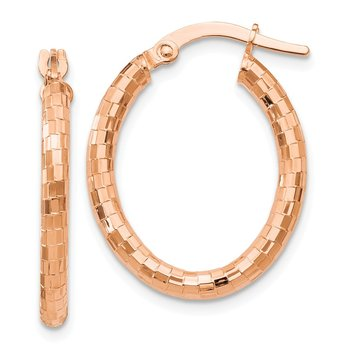 Leslie's 14K Rose Gold Textured Oval Hoop Earrings