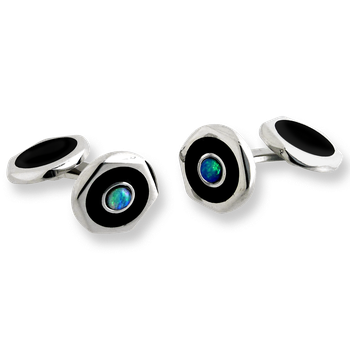 Sterling Silver Hexagon Elbow Cufflinks-Black.  Opal.