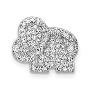 Sterling Silver Rhodium-plated CZ Elephant Slide Pendant