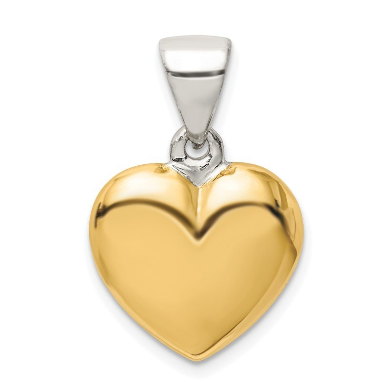 Quality Gold Sterling Silver Gold-plated Polished Puffed Heart Pendant