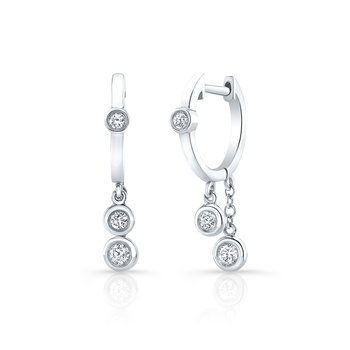 White Gold Diamond Bezel Dangling Huggie Hoops