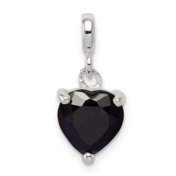 Sterling Silver Black CZ Heart Enhancer