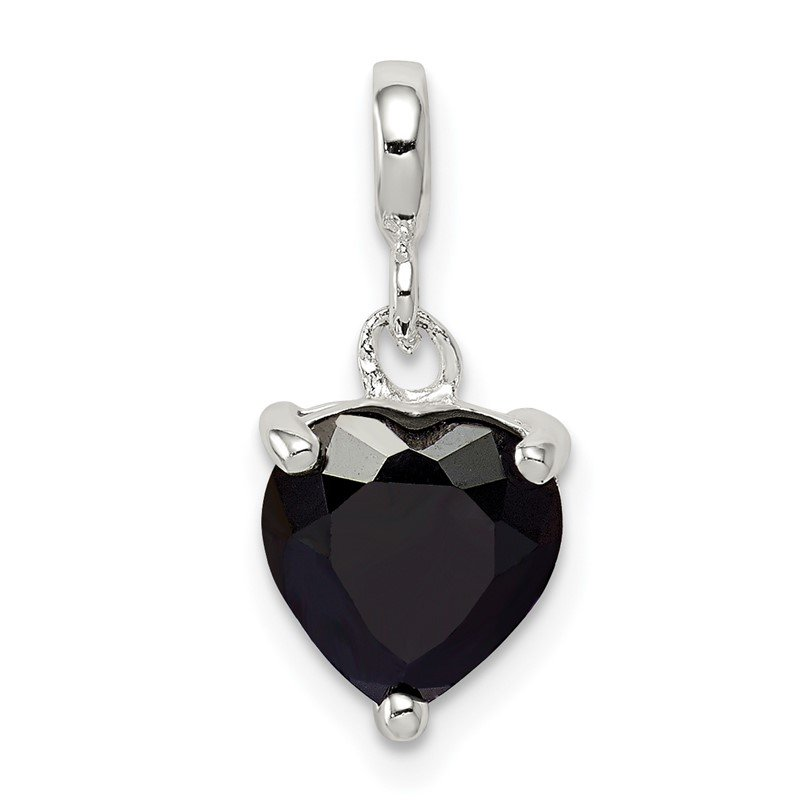 Quality Gold Sterling Silver Black CZ Heart Enhancer
