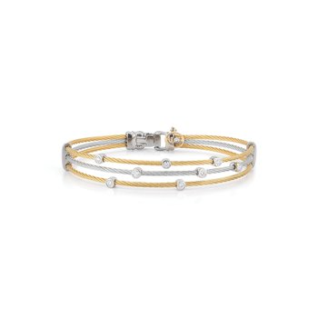 Yellow & Grey Cable Triple Strand Bracelet with 18kt White Gold & Diamonds