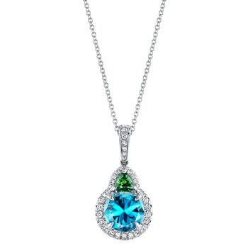 Blue Zircon, Tsavorite and Diamond Pendant