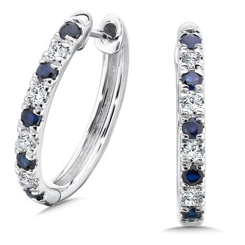 Diamond & Sapphire Hoops in 14k White Gold (1/2 ct. tw.)