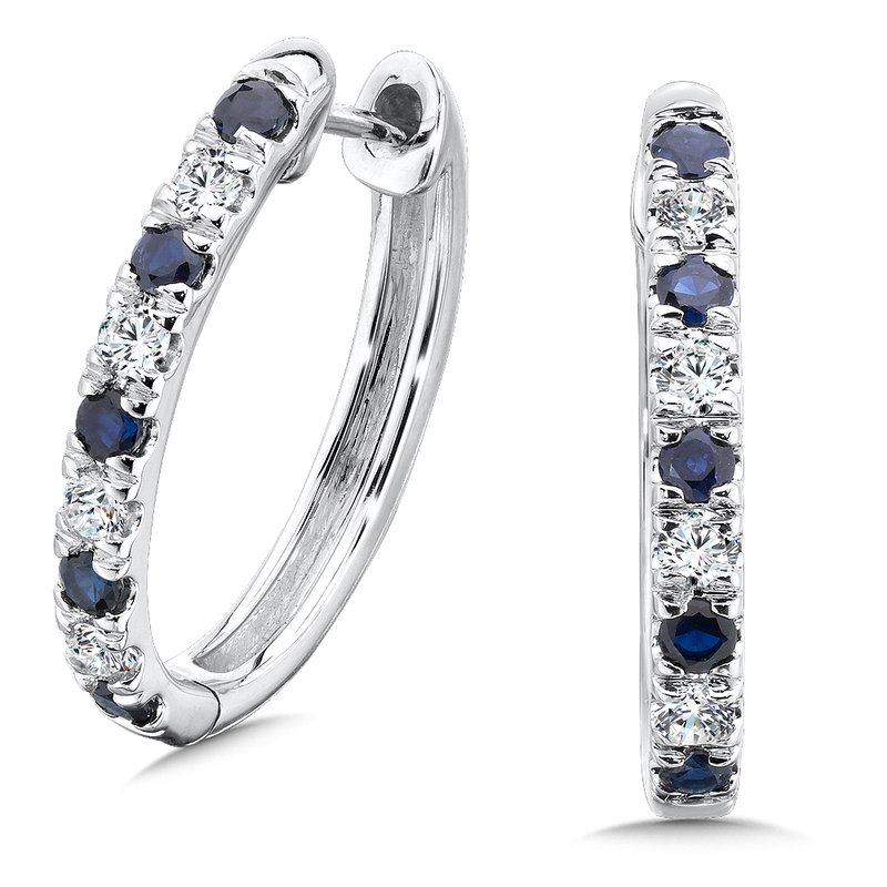 SDC Creations Diamond & Sapphire Hoops in 14k White Gold (1/2 ct. tw.)