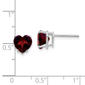 14k White Gold 7mm Heart Garnet Earrings