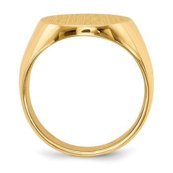 14k 15.5x19.0mm Closed Back Mens Signet Ring