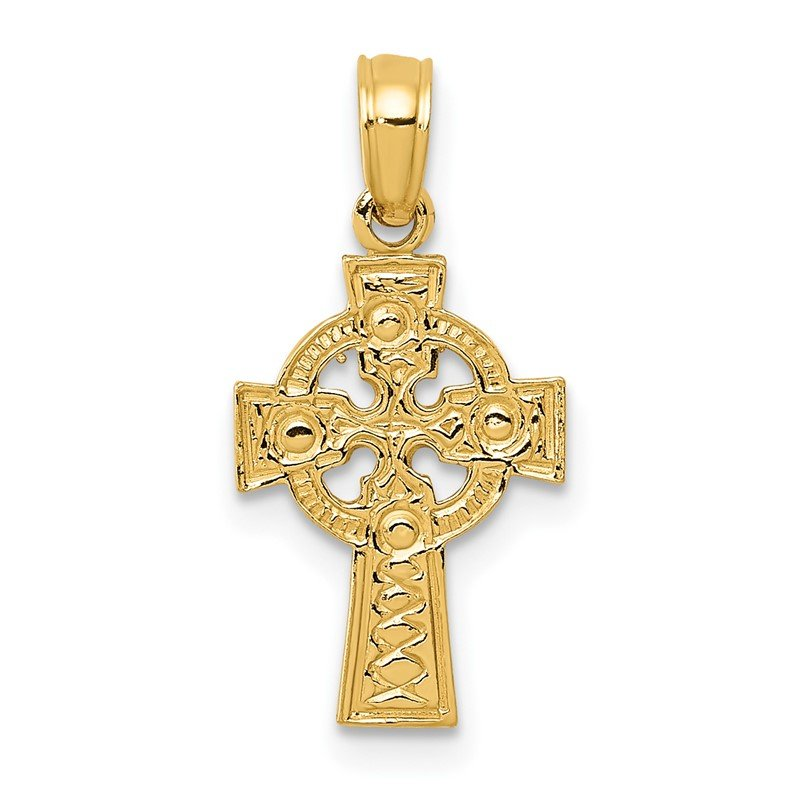 Quality Gold 14K Celtic Cross w/Eternity Circle Pendant