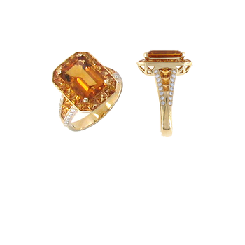 18Kt Gold Ring With Diamonds, Sapphire And Citrine