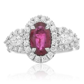 Oval Ruby Side Stone Ring
