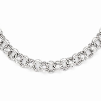 Leslies 14k White Gold Polished Textured Fancy Link Necklace