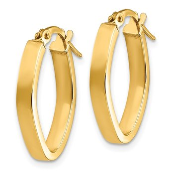 14K Small 3mm Oval Hoop Earrings