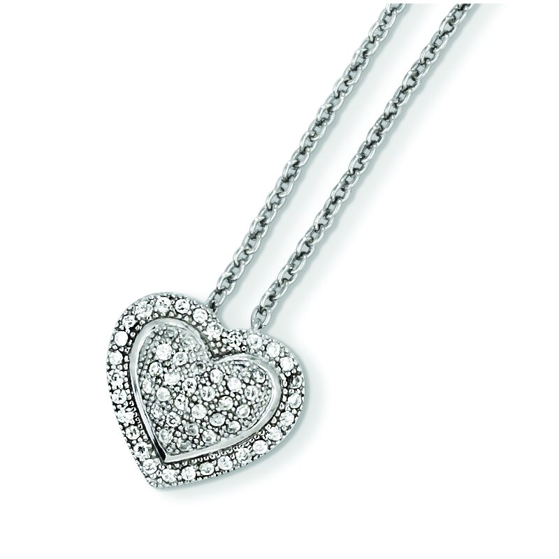 Quality Gold Sterling Silver & CZ Brilliant Embers Heart Necklace