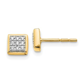 14k White Gold Diamond Post Earrings