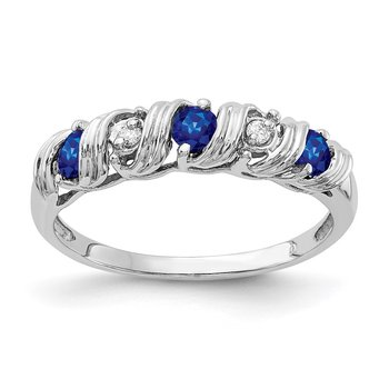 14k White Gold 2.75mm Sapphire AA Diamond ring