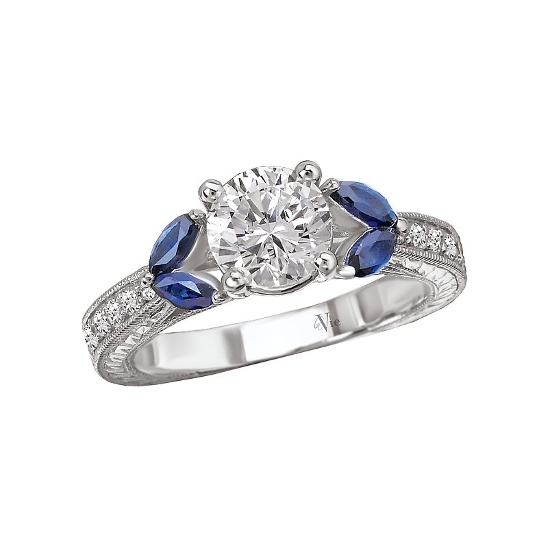 LaVie Sapphire and Diamond Semi-Mount Ring