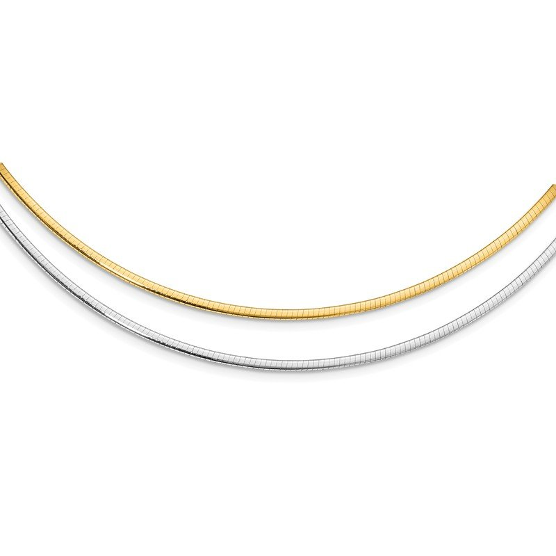 Leslie's Leslie's 14K Two-Tone 2mm Reversible w/Adj. Chain Omega Necklace