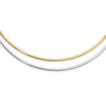 Leslie's 14K Two-Tone 2mm Reversible w/Adj. Chain Omega Necklace