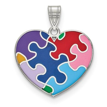 Sterling Silver Rhod-plated Enameled Autism Heart Pendant