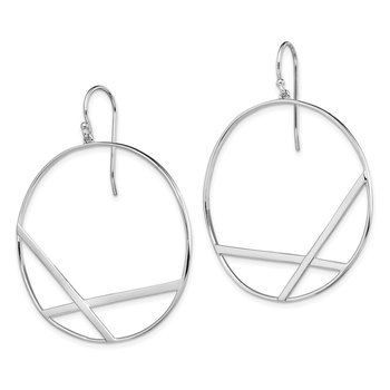 Sterling Silver Rhodium-plated Polished Round Dangle Earrings