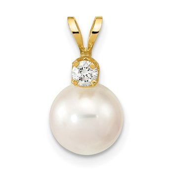 14k 8-9mm Round White Saltwater Akoya Cultured Pearl Diamond Pendant