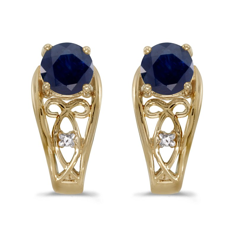 Color Merchants 14k Yellow Gold Round Sapphire And Diamond Earrings