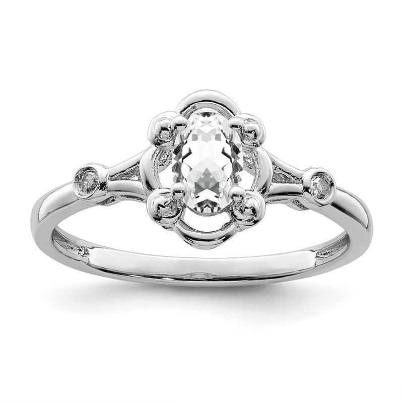 Quality Gold Sterling Silver Rhodium-plated White Topaz & Diam. Ring