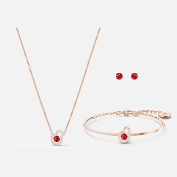 Full Blessing Hulu Set, Red, Rose-gold tone plated