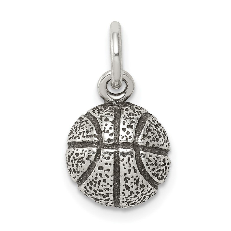Quality Gold Sterling Silver Antiqued Basketball Charm