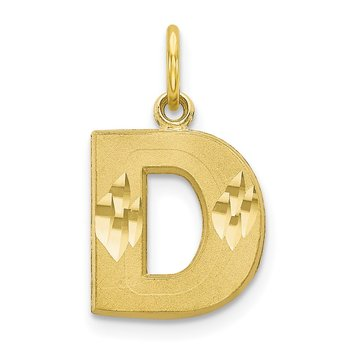 10K Satin Diamond-cut Initial D Charm