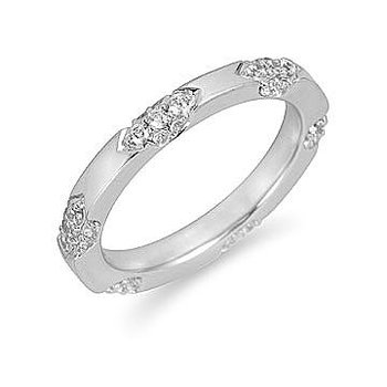 14K WG Diamond Wedding Band with Stations of Diamonds