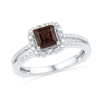 Sterling Silver Womens Princess Lab-Created Smoky Quartz Solitaire Ring 3/4 Cttw
