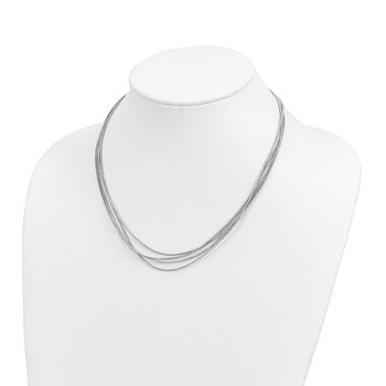 Leslie's Sterling Silver Rhodium-plated Multi-strand with 2in ext. Necklace