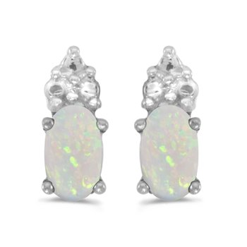 10k White Gold Oval Opal Earrings