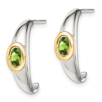 Sterling Silver w/ 14K Accent Peridot J-Hoop Earrings