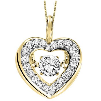 14KY Diamond Rhythm Of Love Pendant 1/3 ctw