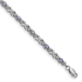 Sterling Silver Polished Tanzanite Xs 7.5 inch Bracelet