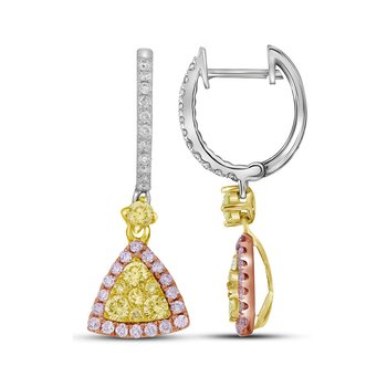 14kt White Gold Womens Round Yellow Pink Diamond Triangle Dangle Earrings 1.00 Cttw