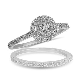 14K WG Round Diamond Galaxy Engagement Ring  with Round Halo in Prong Setting