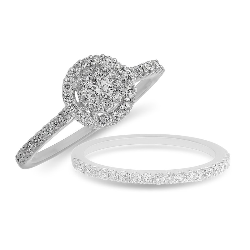 BB Impex 14K WG Round Diamond Galaxy Engagement Ring  with Round Halo in Prong Setting