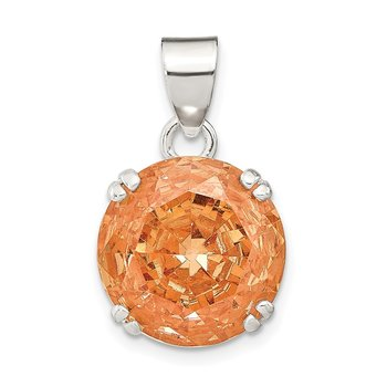 Sterling Silver Round Champagne CZ Pendant