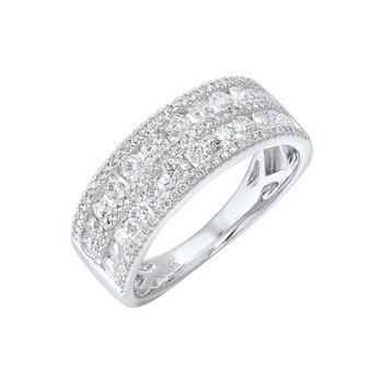 Diamond 5-Row Wedding Anniversary Band in 14k White Gold (1ctw)
