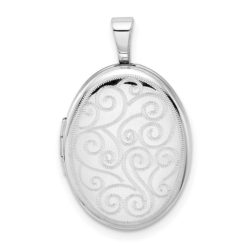 Quality Gold Sterling Silver Rhodium-plated Swirls 19mm Oval Locket