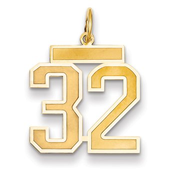 14k Medium Satin Number 32 Charm