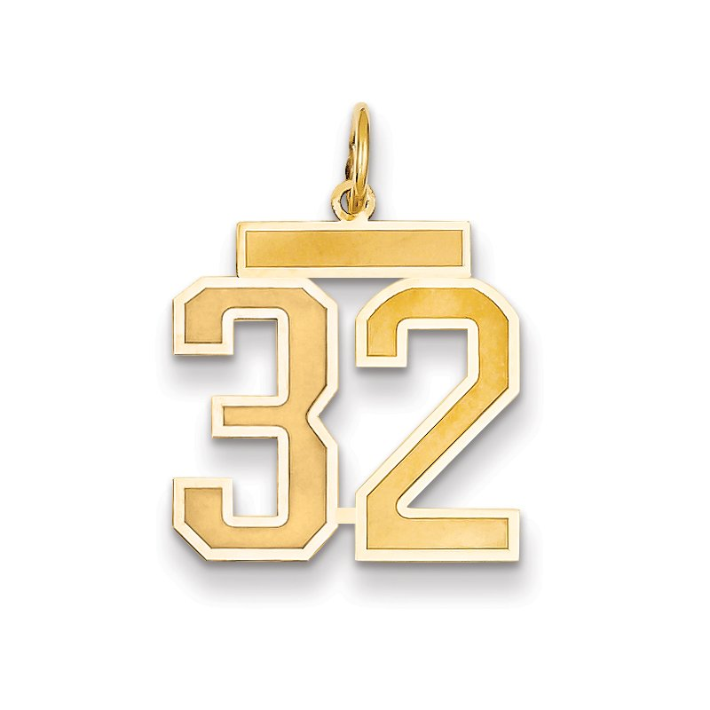 Quality Gold 14k Medium Satin Number 32 Charm